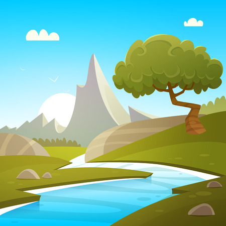 river rock: Cartoon Summer Landscape