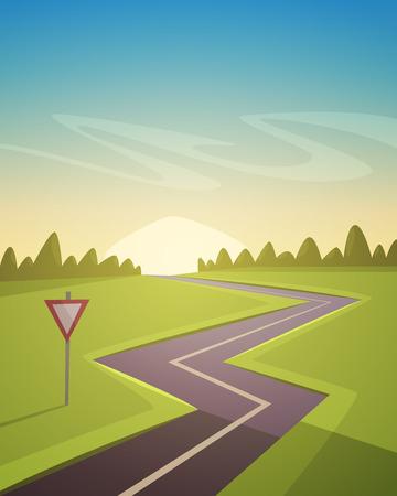 road trip: Asphalt Road Over Field