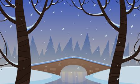winter park: Bridge In The Snow Illustration