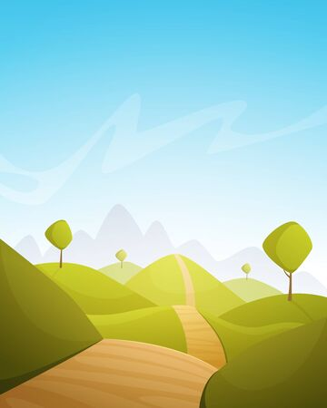 country roads: Countryside Cartoon Landscape