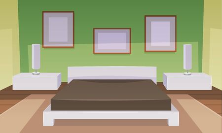 bedroom furniture: Modern green bedroom interior with furniture, cartoon vector illustration.