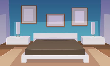 bedroom furniture: Modern blue bedroom interior with furniture, cartoon vector illustration.