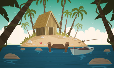 jetty: Small Tropical Island Illustration