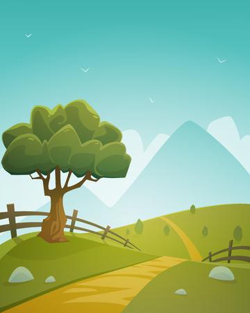 Platteland van de Zomer Landschap Stock Illustratie