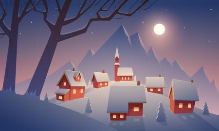 Klein dorp in sneeuw met berg op achtergrond, beeldverhaal vectorillustratie.