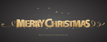 Vrolijk kerstfeest. Gouden 3D-letters met linten en confetti op een zwarte achtergrond.