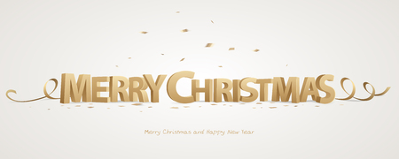 Merry Christmas. Golden 3D letters with ribbons and confetti on a white background.