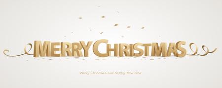 Vrolijk kerstfeest. Gouden 3D-letters met linten en confetti op een witte achtergrond.