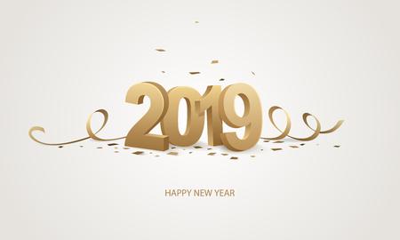 Gelukkig Nieuwjaar 2019. Gouden 3D-nummers met linten en confetti op een witte achtergrond. Stock Illustratie