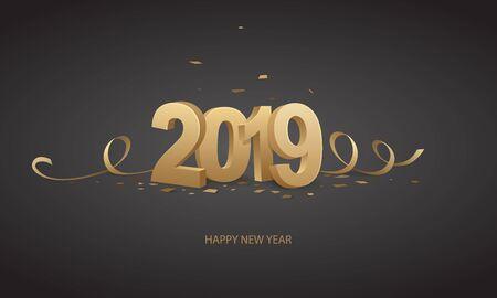Gelukkig Nieuwjaar 2019. Gouden 3D-nummers met linten en confetti op een zwarte achtergrond. Stock Illustratie