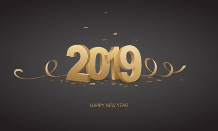 Happy New Year 2019. Golden 3D numbers with ribbons and confetti on a black background. Illusztráció