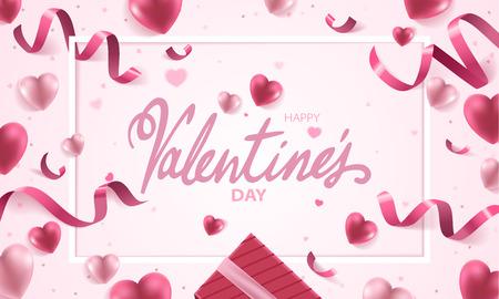 Gelukkige de vakantie vector van de Valentijnskaartendag illustratie als achtergrond. Roze harten met linten, confetti en handgeschreven tekst op roze achtergrond.