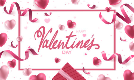 Happy Valentines Day holiday vector background illustration. Pink Hearts with ribbons, confetti and handwritten text on white background.