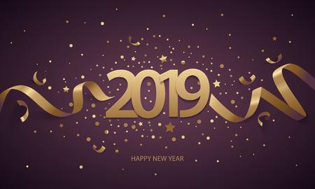 Gelukkig Nieuwjaar 2019. Gouden cijfers met linten en confetti op een donkere paarse achtergrond. Stock Illustratie