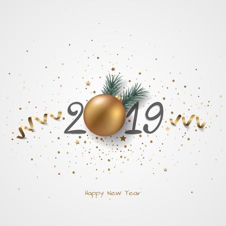 Happy New Year 2019 holiday background with Christmas decoration. Illusztráció