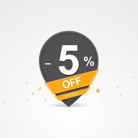 3D Sale kortingspercentage aanwijzer. Vijf procent korting op korting. Stock Illustratie