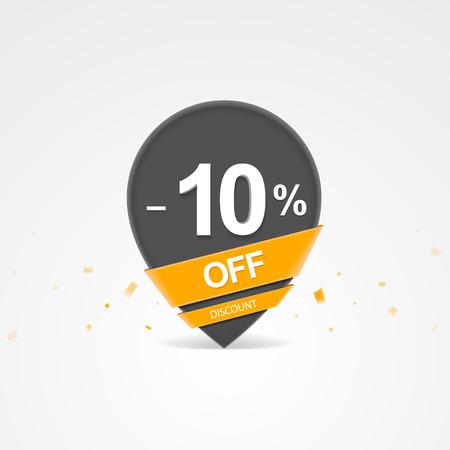 3D Sale kortingspercentage aanwijzer. Tien procent korting op korting.