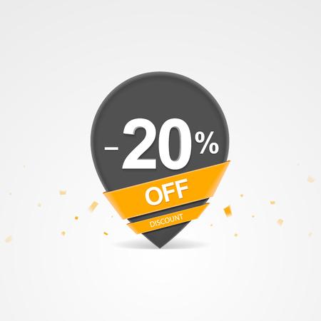 3D Sale kortingspercentage aanwijzer. Twintig procent korting op korting.