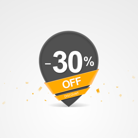 3D Sale discount percent pointer. Thirty percent off discount.