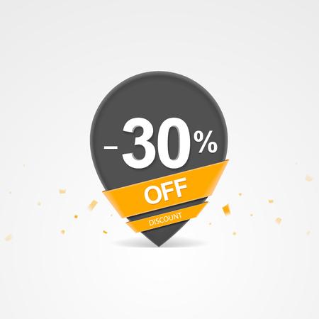 3D Sale kortingspercentage aanwijzer. Dertig procent korting op korting. Stock Illustratie