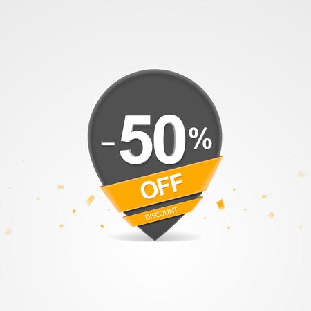 3D Sale kortingspercentage aanwijzer. Vijftig procent korting op korting.