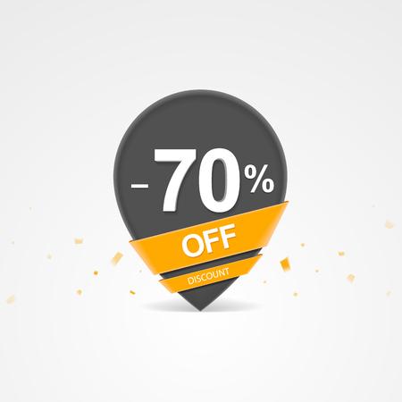 3D Sale kortingspercentage aanwijzer. Zeventig procent korting op korting.