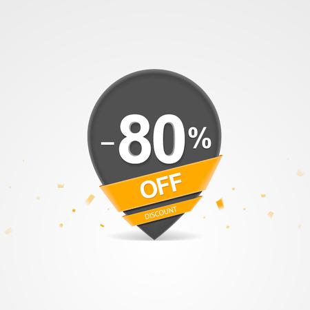 3D Sale kortingspercentage aanwijzer. Tachtig procent korting op korting.