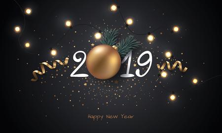 Gelukkige Nieuwjaar 2019 achtergrond met Kerstmislicht en decoratie. Stock Illustratie