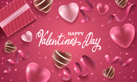 Happy Valentines Day holiday background illustration. Pink Hearts with ribbons, confetti and handwritten text on pink background with chocolate candies. Illusztráció