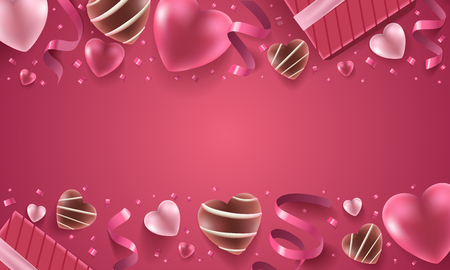 Happy Valentines Day holiday background illustration. Pink Hearts with ribbons, confetti with chocolate candies on pink background. Illusztráció