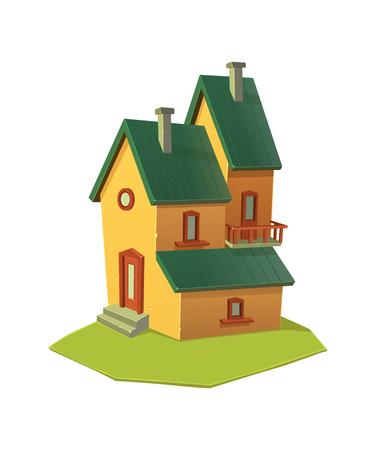 Cartoon house building isolated. Cartoon vector illustration.