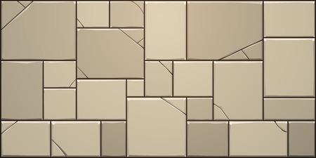 Closeup of cracked stone block wall. Vector illustration.