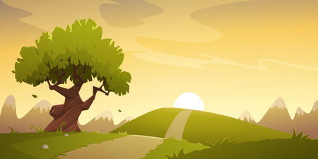 Cartoon illustration of the summer countryside landscape. Sunset in the valley with mountain in background. Stock Illustratie