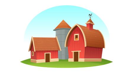 Red farm barn with grain silo, isolated. Cartoon vector illustration. Stock Illustratie