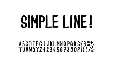 Simple hand drawn grunge font. Stock Illustratie