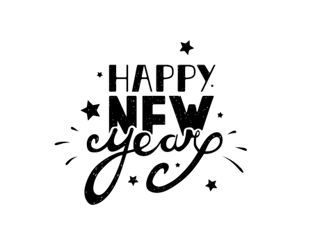 Happy New Year hand lettering on a white background. Hand drawn typography.