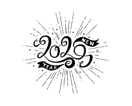 Happy New Year 2020 greeting card. Hand lettering calligraphy on a white background. Hand drawn typography. Stock Illustratie