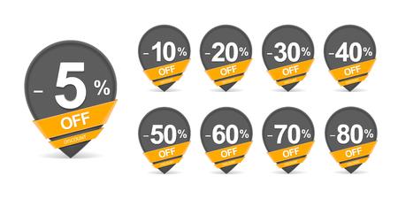 Discount pointer set. Set of nine black discount pointer icons.