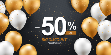 Fifty percent discount. Gold and white balloons with confetti on black background.