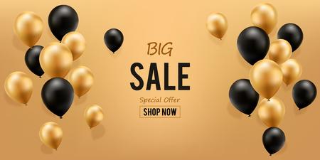 Big Sale Background. Gold And Black Balloons, vector illustration.