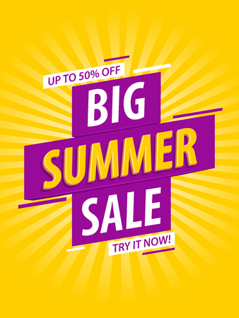 Summer sale banner template design. Big summer sale, half price.