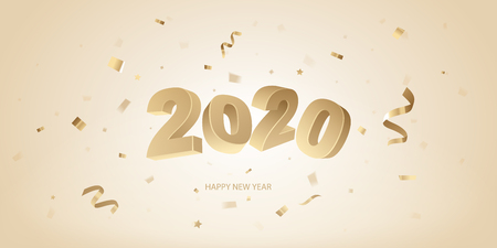 Happy New Year 2020 background. Golden 3D numbers and confetti on a bright background. Stock Illustratie