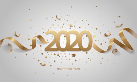 Happy New Year 2020. Golden numbers with ribbons and confetti on a white background. Stock Illustratie