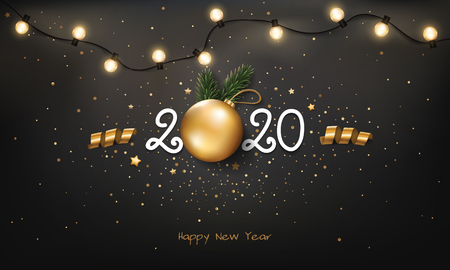 Happy New Year 2020 background with Christmas light and decoration. Stock Illustratie