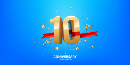 10th Anniversary celebration. 3D Golden numbers with confetti and ribbon. Stock Illustratie
