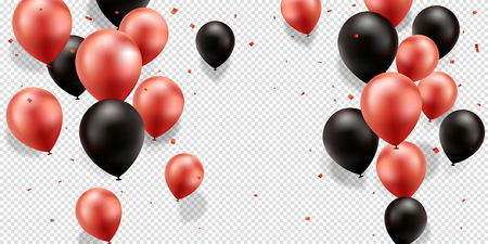 Red and Black Balloons with confetti on a transparent background.