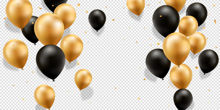 Gold and Black Balloons with confetti on a transparent background. Stock Illustratie