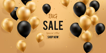 Big Sale Background. Gold And Black Balloons with confetti.