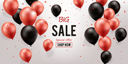 Big Sale Background. Red And Black Balloons with confetti.