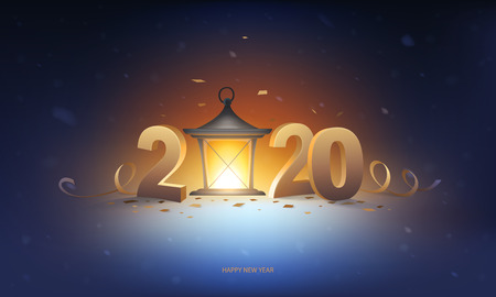 Happy new year 2020 background. Lantern in the snow with 3D golden numbers, confetti with ribbons and snowflakes in background.